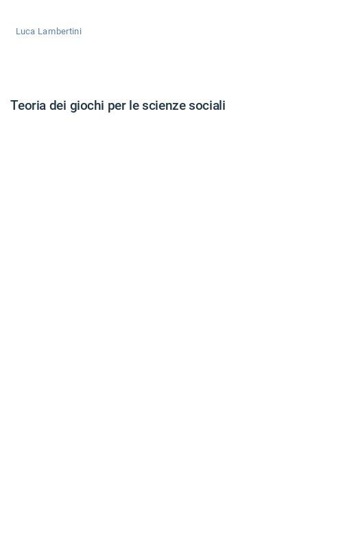 Teoria dei giochi per le scienze sociali